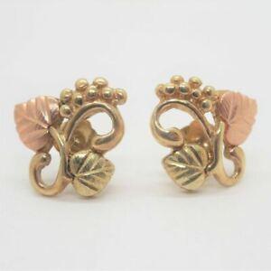 10k Yellow & Black Hills Gold Coleman Grape Cluster Leaves Swirl Stud Earrings