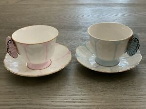 Aynsley Butterfly Pink And Blue Teacup And Saucer Sets