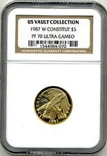 1987W CONSTITUTION GOLD $5.00 NGC PF70 ULTRA CAMEO