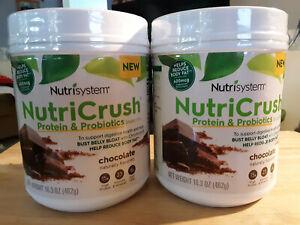 2 Nutrisystem NutriCrush Shake Mix Protein Probiotics 16.3oz Chocolate New