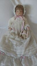 "20"" Porcelain Baby Doll w Handmade Real Hair Wig w Baby Rabbit Plush"