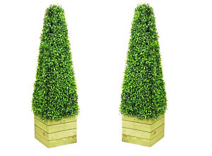 2 x Artificial Tree 3ft Cones Pyramid Indoor Artificial Trees Topiary trees