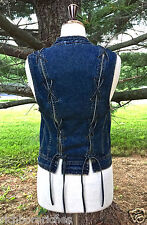 NEW Free People Vest Denim distressed blue denim Lace Up Back Denim Vest X/S