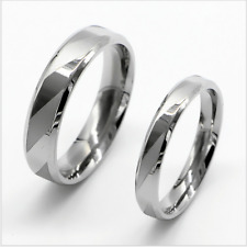 Stainless Steel Silver Zebra line simple design Promise Love Couple Rings 1 pair