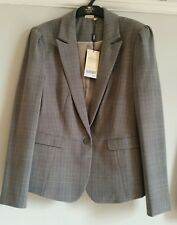 NEXT Ladies Suit jacket size Uk14 Petite smart formal jacket BNWT beige checks
