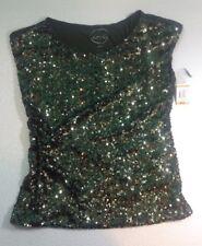 NEW INC Camo Green Sequin Blouse Dress Shirt Size Small S Drape Rayon Back Top