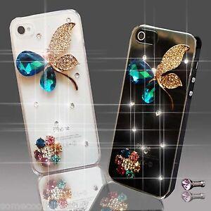 NEW BUTTERFLY FLOWER DIAMOND BLING MOBILE CASE COVER SAMSUNG iPHONE SONY UK POST