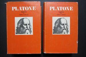 PLATONE OPERE  2 vol 1974  Editori Laterza Filosofi Antichi e Medievali TESTO IT