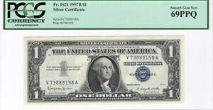 Fr. 1621 $1 1957B Silver Cert PCGS Superb Gem Unc 69 PPQ