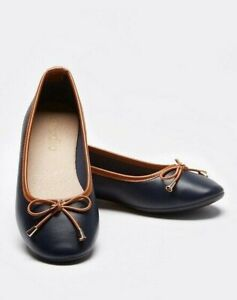 Womens Flat Shoes Wide Fit Size 8 Navy Tan Ballerina Bow Slip On Pump Ladies NEW