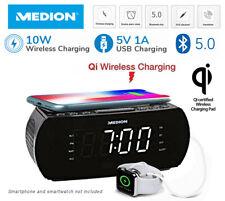 Medion Alarm Clock LCD Radio Snooze Qi Wireless Charging Bluetooth V5.0 USB AUX