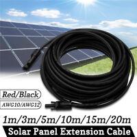 1-20m 10/12AWG Panneau Solaire Extension Corde MC4 Connection Câble Connecteur