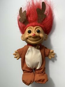 """5"""" Holiday Reindeer Christmas RUSS Troll Doll 1980's Excellent Condition"""
