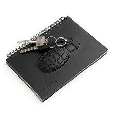 Stylish Black Hand Grenade Gun Knife Design Notebook Notepad Memo Pad Diary