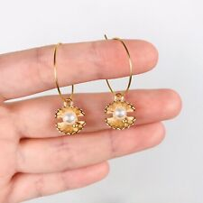 Gold Plated Hoop Charm Earrings Boho Hippy Jewellery Oyster Pearl Shell Blogger