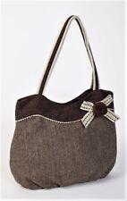 Ladies Herringbone Tweed Office Shoulder Bag  Brown and Cream with Charming Bow
