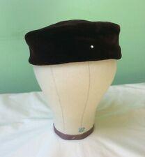 50s Vintage Hat. Brown Velvet Pillbox. Rhinestone. Goodwood.