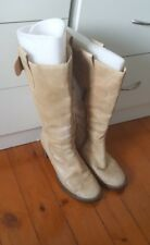 COLORADO Beige Camel Brown Leather Side Zip Cow Girl Round Toe Boots Size 8