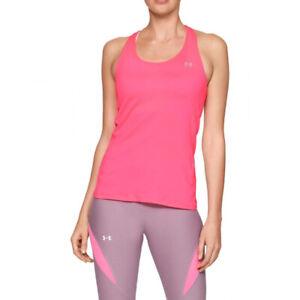 Under Armour UA HeatGear Ladies Pink Racer Tank Sports Running Vest M
