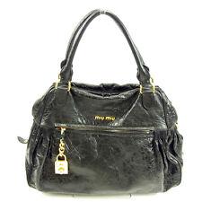 Auth MiuMiu handbag logo ladies used Y5207