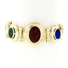 Reversible Blue Green Agate Onyx Carnelian Intaglio Trojan Cameo Gold Bracelet