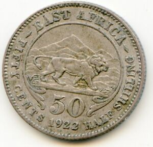 East Africa 50 Cents 1922 silver issue nice coin   lotmar4663