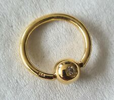 18ct Solid Gold Body Piercing Ring With Diamond ?? NEW..Hallmarked 750.not scrap