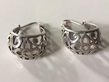 Silpada Sterling Silver 925 Basket Filigree Oval Hoop Floral Leaf Earrings P1844