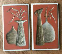"Set of 2 Vintage MCM Chalkware Orange & Cream Wall Plaques Vases & Leaves 9""x15"""