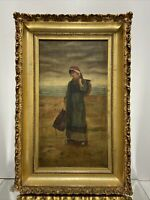 VTG. Antique Oil Painting on Canvas Dutch Girl Wood Gold Gilt Picture Frame