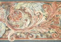 Taupe Teal Green Mauve Pink Gold Acanthus Leaf Scroll Wall paper Border 7099