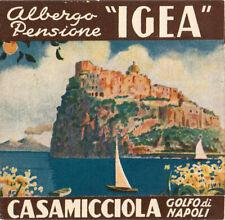 Vintage 1930's Grand Hotel Albergo IGEA Naples Italy Luggage Label