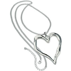 Lagenlook shiny silver large heart abstract pendant 95 cm long chain necklace