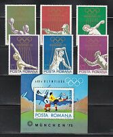 Romania 1972 MNH Mi 3035-3040+Block 97 Sc 2341-2346,C187 Olympic Games,Munich**