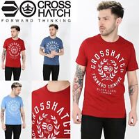 Crosshatch Front Logo Print Mens Bedgebury Short Sleeve Crew Neck T Shirt Tops