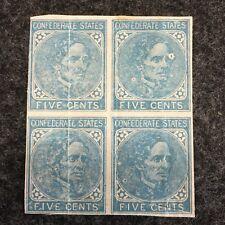 Block of four Confederate CS6  Stamps