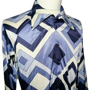 Vintage Oleg Cassini Mens 1970s Disco Slinky Shirt Nylon Geometric Fitted Size M