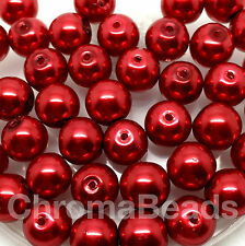 10mm Glass faux Pearls - Ruby Red (40 round pearl beads) jewellery making