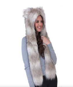 Unisex, women's Faux Fur Animal Wolf Hat with Long Scarf and Ears Girls Novelty