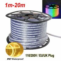 LED Strip Lights 110V 220V 5050 SMD IP67 Waterproof Tape Rope 1-20M EU/UK Plug