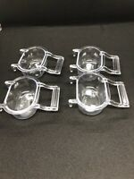 """4 Pcs Bird Food Water Feeders Perch Hopper Cage Seed  Clear Open Cups Small 3x2"""""""