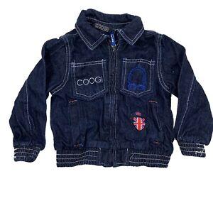Coogi Toddler Jean Jacket Zip Up Girl's Blue Denim Embroidered Coat Size 2T