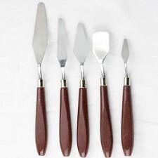 -UK- 5pcs Steel Artist Oil Painting Palette Set Spatula Paint Wooden Handle
