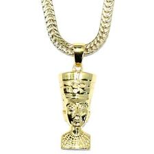 "Gold Queen Nefertiti Pendant  18k 30"" Gold plated 2.4mm Flat Franco Box Chain"