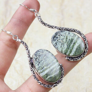"Green Swiss Opal 925 Silver Plated Handmade Gemstone Earrings 2.5"" Ethnic Gift"