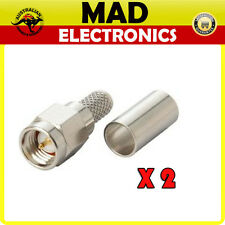 2 x SMA Male Crimp Plug Suits RG58 Coax Cable