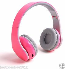 Pink Bluetooth Headphones Headset fit for all smart cell phones tablet pc laptop