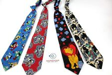 4 Piece Disney Character Silk Poly Neck Ties Mickey Mouse Donald Duck Pooh Goofy