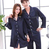 Womens Mens Soft Silk Satin Pajamas Sets Long Sleeve Pyjamas Nightgown Homewear
