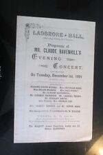 1891 LADBROKE HALL LADBROKE GROVE LONDON  CLAUDE RAVENHILL  PROGRAMME